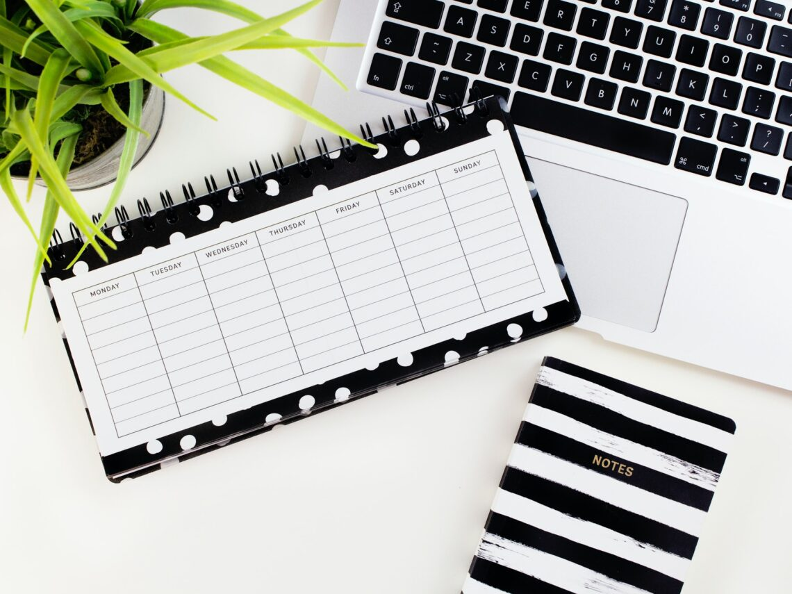 Calendar and computer flatlay